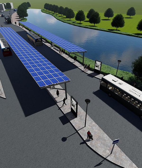 Auvent pour bus & poids lourds panneaux solaires
